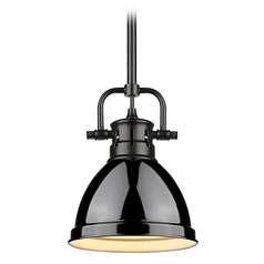 Golden Lighting Duncan Black Mini-Pendant Light with Gloss Black Shade