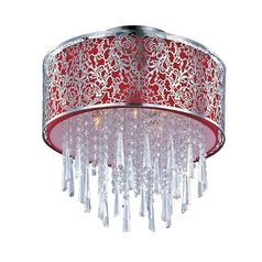 Maxim Lighting Drum Ceiling Light with Red Shade in Satin Nickel Finish 22291RDSN