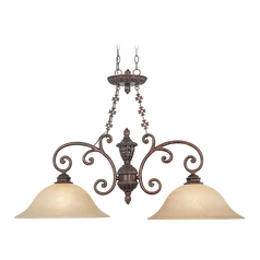Pendant Light with Beige / Cream Glass in Burnt Umber Finish