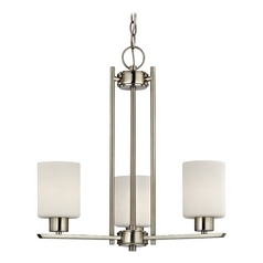 Design Classics Modern Chandelier with Three Lights and White Cylinder Glass Shades 1121-09