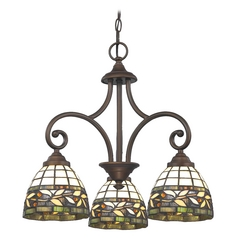 Design Classics Lighting Mini-Chandelier with Multi-Color Glass in Neuvelle Bronze Finish 716-220 GL1043