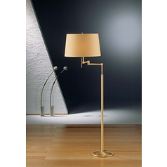 Holtkoetter Modern Swing Arm Lamp with Beige / Cream Shades in Brushed Brass Finish