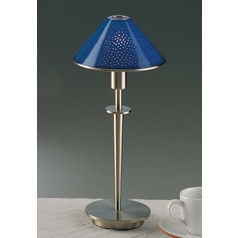 Holtkoetter Modern Table Lamp with Blue Glass in Satin Nickel Finish