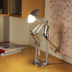 Adjustable 'Determine to Max' Artistic Chrome Plated LED Desk Lamp