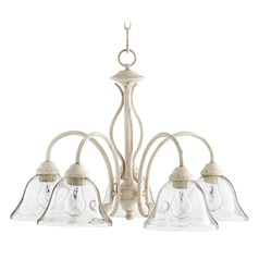Seeded Glass Chandelier White Quorum Lighting