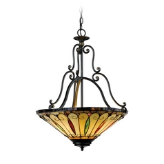 Pendant Light with Multi-Color Glass in Imperial Bronze Finish