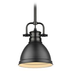 Golden Lighting Duncan Black Mini-Pendant Light with Matte Black Shade
