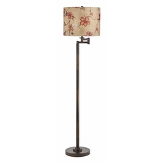 Design Classics Lighting Bronze Swing Arm Floor Lamp with Drum Shade 1901-1-604 SH9512
