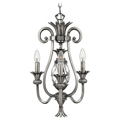 Hinkley 3-Light Mini Chandelier with Clear Glass in Polished Antique Nickel