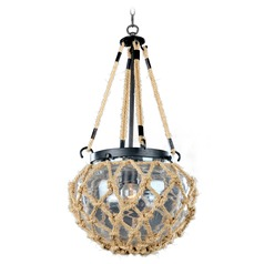 Kalco Hatteras Satin Bronze Mini-Pendant Light with Bowl / Dome Shade