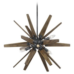 Feiss Lighting Thorne Dark Weathered Zinc / Weathered Oak Chandelier