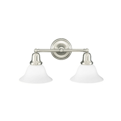 Bathroom Light with White Glass in Polished Nickel Finish