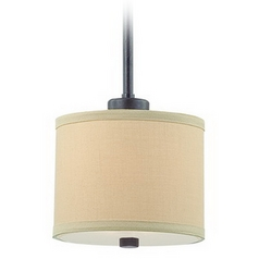 Iron Finish Mini-Pendant with Beige Drum Shade