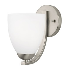 Modern Sconce with Satin White Bell Glass Shade