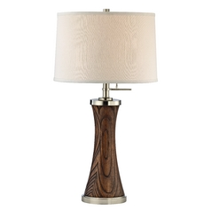 Design Classics Lighting Table Lamp with Tapered Wood Column Base and Drum Shade DCL M6777-09/669 / SH7211