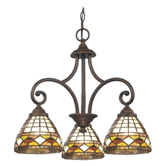Design Classics Lighting Mini-Chandelier with Multi-Color Glass in Neuvelle Bronze Finish 716-220 GL1044
