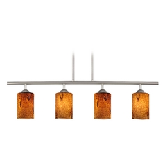 Modern Linear Pendant Light with 4-Lights and Brown Art Glass in Satin Nickel Finish