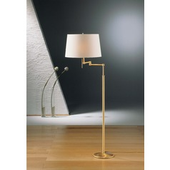 Holtkoetter Lighting Brushed Brass Swing Arm Lamp with Drum Shade