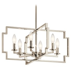 Art Deco Chandelier Polished Nickel Downtown Deco by Kichler Lighting