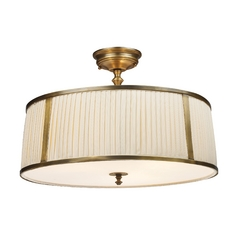 Semi-Flushmount Light with White Shade in Vintage Brass Patina Finish