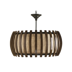 Modern Drum Pendant Light with Brown Tones Grasscloth Shade in Old Iron/polished Fruitwood Finish