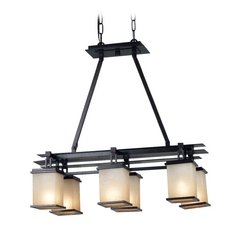 Modern Island Light with Amber Glass in Oil Rubbed Bronze Finish
