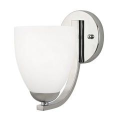 Polished Chrome Wall Sconce with Satin White Bell Glass Shade