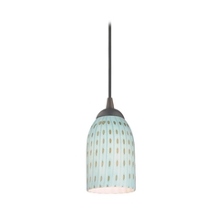 Design Classics Lighting Modern Mini-Pendant Light with Blue Glass 582-220 GL1003D