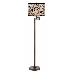 Swing arm floor lamps adjustable floor lamps swing arm lamp with black shade in bronze finish aloadofball Image collections