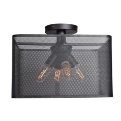Industrial Semi-Flushmount Light Black Epic by Access Lighting