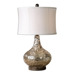 Table Lamp with White Shade in Polished Chrome Finish