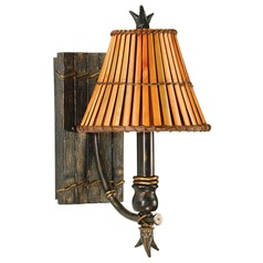 Sconce Wall Light with Brown Tones Bamboo Shade in Bronze Heritage Finish