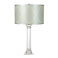 Modern Table Lamp with Blue Shade in Clear Finish