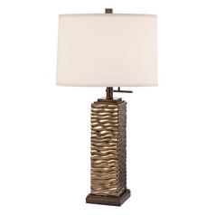 Ceramic Table Lamp with Linen Drum Lamp Shade