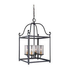 Feiss Lighting Declaration Antique Forged Iron Pendant Light with Cylindrical Shade