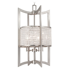 Livex Lighting Grammercy Brushed Nickel Pendant Light with Scalloped Shade