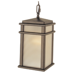 Outdoor Hanging Light with Amber Glass in Corinthian Bronze Finish