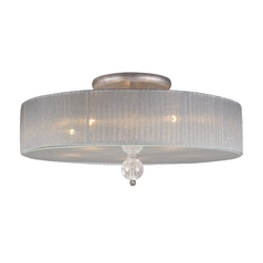 Modern Semi-Flushmount Light with Silver Shade in Antique Silver