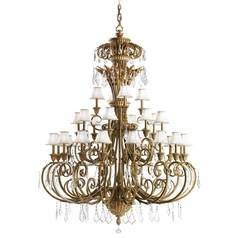Kichler Chandelier with White Shades in Ravenna Finish