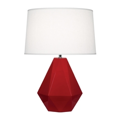 Modern Art Deco Table Lamp Ruby Red / Polished Nickel Delta by Robert Abbey