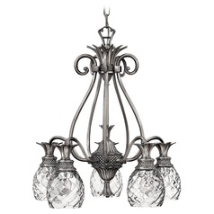 5-Light Polished Antique Nickel Pineapple Chandelier with Clear Glass