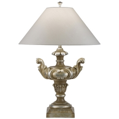 Fine Art Lamps Recollections Antiqued, Gold-Stained Silver Leaf Table Lamp with Coolie Shade