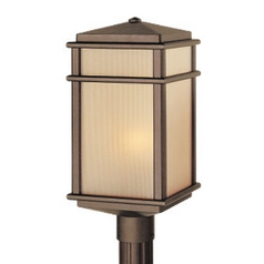 Post Light with Amber Glass in Corinthian Bronze Finish