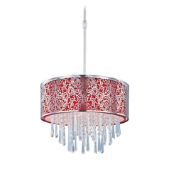 Maxim Lighting Drum Pendant Light with Red Shade in Satin Nickel Finish 22294RDSN