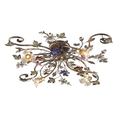 Semi-Flushmount Light with Clear Glass in Bronzed Rust Finish