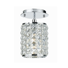 Crystal Semi-Flushmount Light with Clear Glass in Polished Chrome Finish