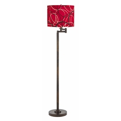 Modern Swing Arm Lamp with Red and Grey Shade in Bronze Finish