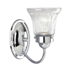 Progress Sconce Wall Light with Clear Glass in Chrome Finish