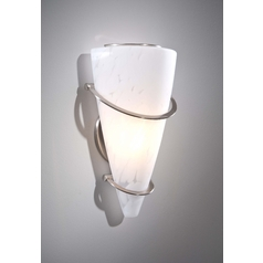Holtkoetter Modern Sconce Wall Light with White Glass in Satin Nickel Finish