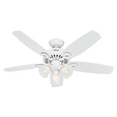 Hunter Fan Company Builder Small Room Snow White Ceiling Fan with Light
